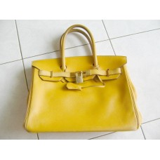 Hermes Birkin 30 Yellow Leather Handbag