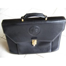 Gianni Versace Medusa Face Logo Black Briefcase